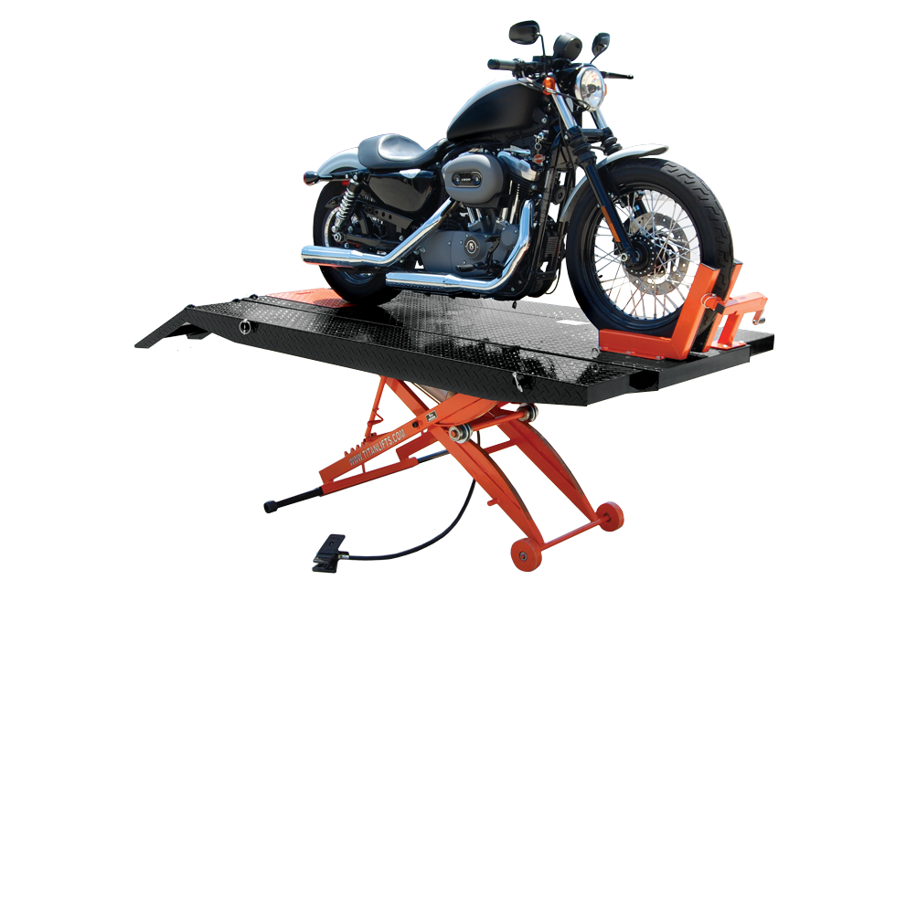 Titan SDML-1000D-XLT Black and Orange Motorcycle Lift, FREE Shipping, (Additional Fees May Apply *See Notes*)