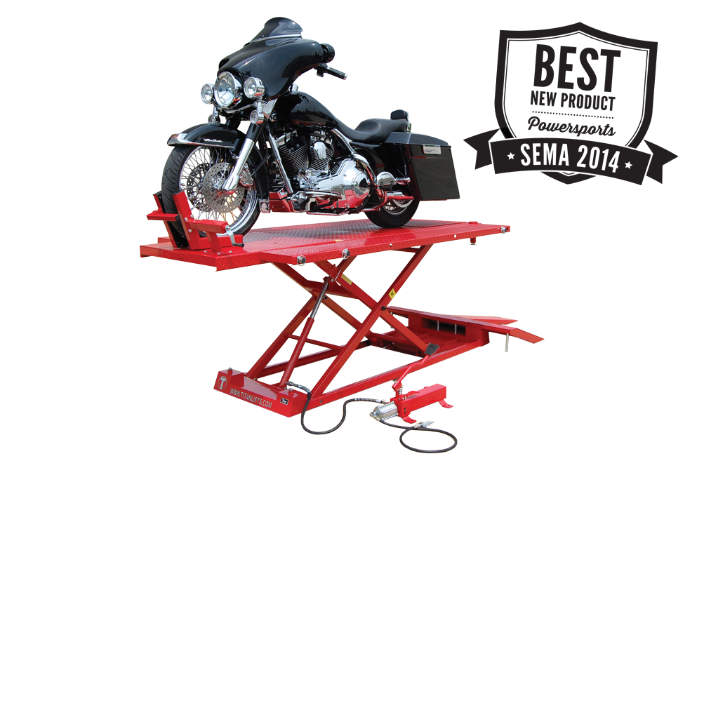 Titan 1500XLT Red Motorcycle Lift INCLUDES Bulldog Chock, FREE Shipping, (Additional Fees May Apply *See Notes*)