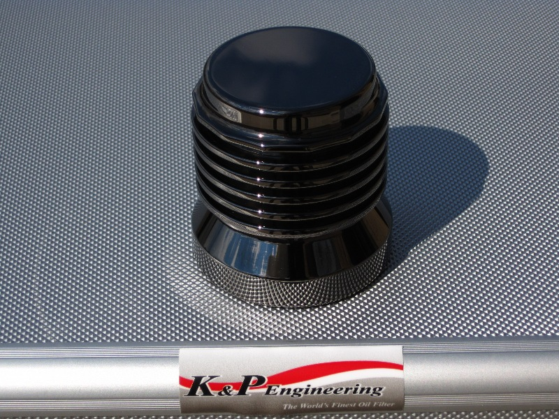 K&P Engineering Reusable Micronic Oil Filters - Fits All HD Except V-Rod - Black Nickel